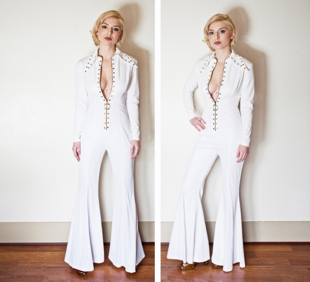vintage 1970s jumpsuit rocket white embellished elvis small