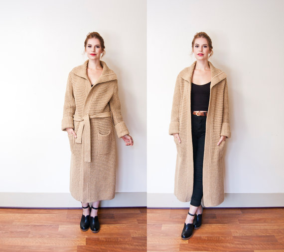 vintage 1970s knit sweater coat