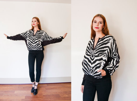 vintage 1980s escasa zebra knit sweater
