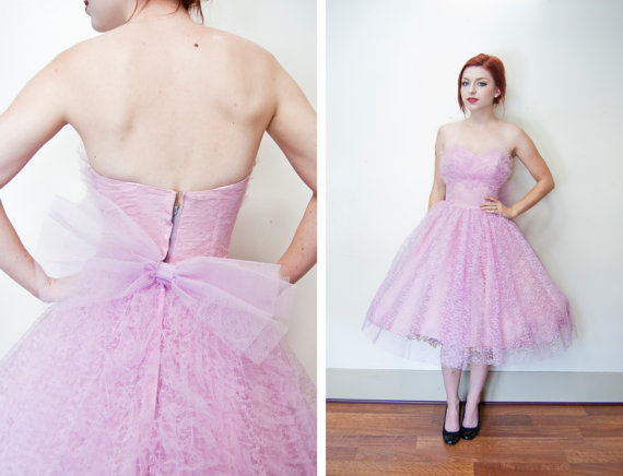 vintage 1950s pink lace full skirt party dress
