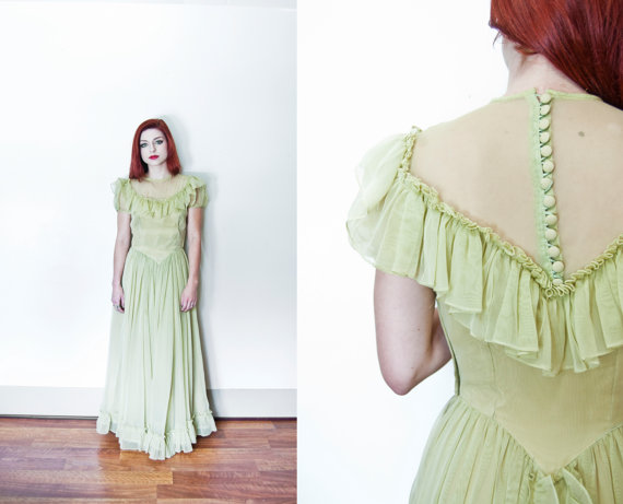 vintage 1940s dress ruffle maxi gown