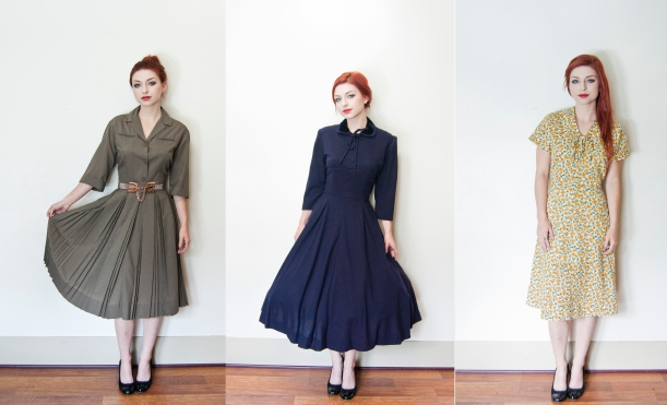 vintage 1950s shirtwaist dress green cotton 1 copy
