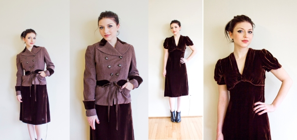 vintage 1930s brown velvet dress copy