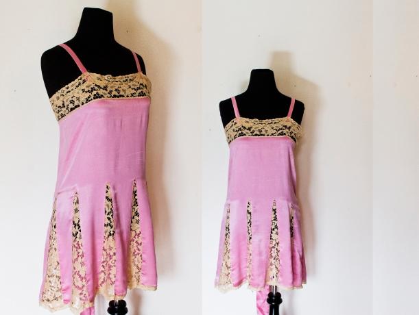 vintage 1920s slip lace silk mauve dress copy