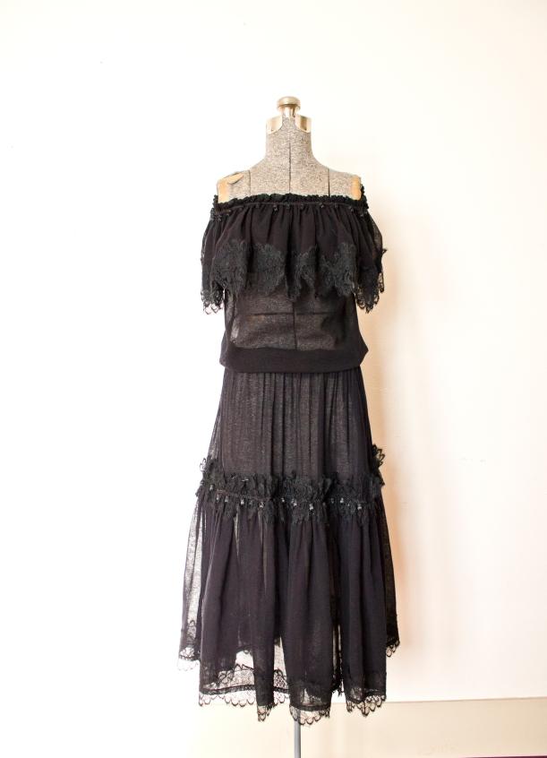 vintage YSL peasant dress black