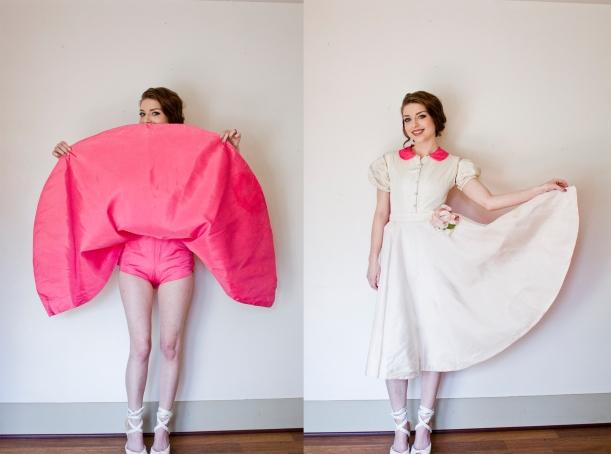vintage 50s burlesque costume pink white 3
