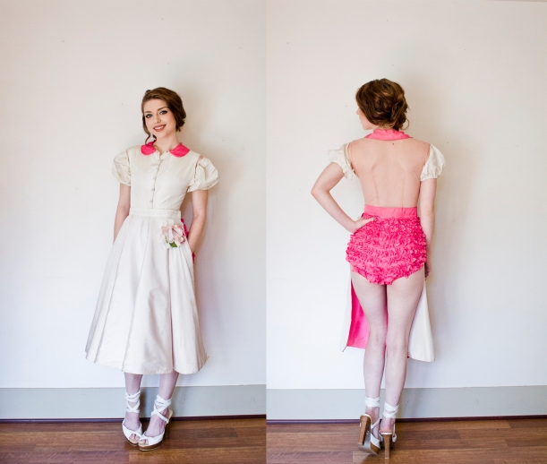 vintage 50s burlesque costume pink white